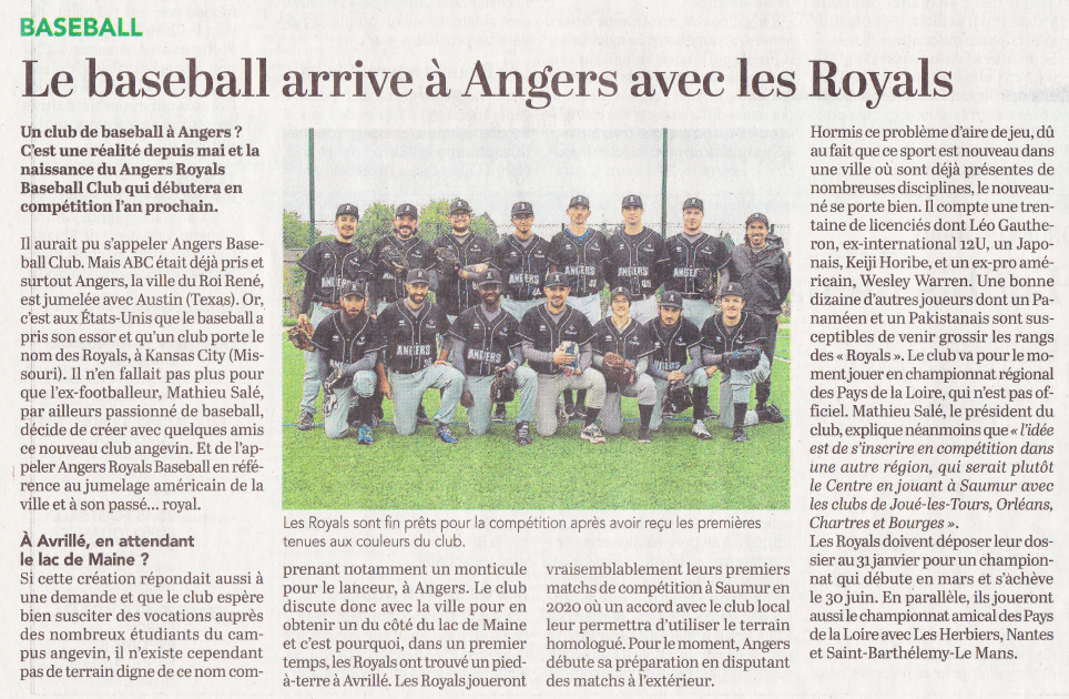 Article Courrier Ouest Royals Angers Baseball